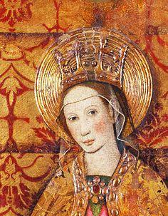 Jaume Huguet. Detail from Virgin and Saints, 1455-1460.