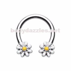 Black Daisy Flower Horseshoe Circular Barbell Specifications: or Surgical Stainless Steel Cute Septum Rings, Septum Piercing Jewelry, Bellybutton Piercings, Nipple Rings, Nose Rings, Rook Piercing, Daith, Unique Belly Rings, Mouth Piercings