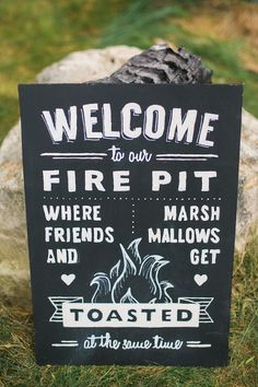 7 Festive Fall Party Ideas - Rhode Island Wedding Fire Pit Sign
