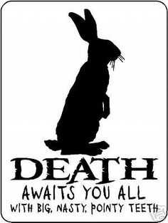 Killer Rabbit of Caerbannog--The killer bunny of Monty Python fame British Comedy, British Humour, Aluminum Signs, Monty Python, Silhouette, Movie Quotes, Horror Quotes, 6 Years, I Laughed