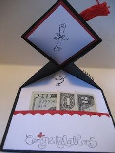 Graduation card idea - could do this with 2015 a twenty, a one, and a five dollar bill.or even perfect for a 2020 graduation!For Graduation - fold money gift to represent the yearRunning a little late on grad gifts? Here are some great ideas! Creative Cards, Creative Gifts, Diy Graduation Gifts, Graduation Ideas, Graduation Celebration, Graduation Decorations, Graduation Centerpiece, Birthday Money Gifts, Graduation Songs