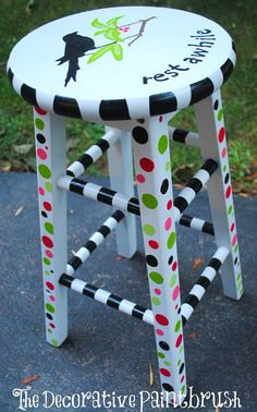 Bar Stool Personalized Bar Stool Hand by TheDecorativeBrush, $125.00