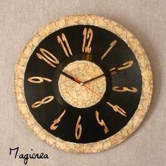 horloge sur vynil 33 tours faux cuir