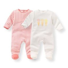 Pack of 2 Printed Cotton Sleepsuits, Birth-3 Years R mini - Pyjamas