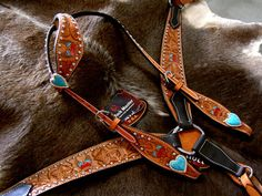 HORSE BRIDLE BREAST COLLAR WESTERN LEATHER HEADSTALL TACK SET TURQUOISE HEART | eBay Love the hearts:)