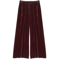 Finery London Valentine Velvet Wide Leg Trousers ($120) ❤ liked on Polyvore featuring pants, pink, wide-leg trousers, pocket pants, velvet pants, red pants and wide-leg pants