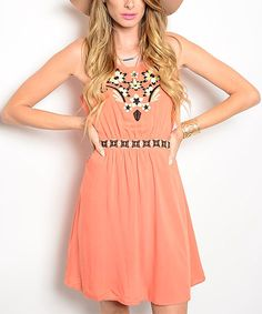 Love this Salmon & White Floral Embroidered Cutout Dress by 24 7 Frenzy on #zulily! #zulilyfinds