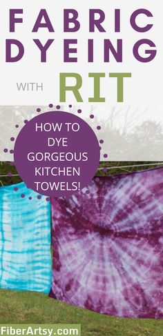 How-to: Dyeing yarn and fabric with good old RIT Dyes! Dye some beautiful kitchen towels at home. #fabricdyeing #dyeingfabric | Fabric Dyeing | Rit Dyeing | fabric dyeing techniques | dyeing fabric Rit Dyeing Yarn, Dyeing Fabric, How To Tie Dye, How To Dye Fabric, Fabric Dyeing Techniques, Reverse Tie Dye, Rit Dye, Fibre And Fabric, Homemade Art