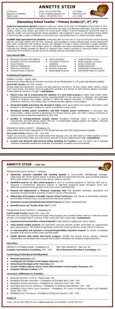 Sample Teacher Resume Page 1 Portfolio Help Pinterest - sample teacher resume
