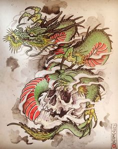 Artwork of Guillaume from The Next Pen. Tattoos, paintings, drawings, all about his designs. Japanese Tattoo Art, Japanese Dragon Tattoos, Japanese Tattoo Designs, Japanese Sleeve Tattoos, Japanese Art, Dragon Images, Japan Tattoo, Oriental Tattoo, Irezumi Tattoos