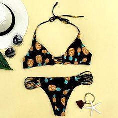 Cupshe Sweet Summer Pineapple Halter Bikini Set