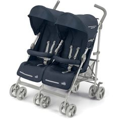 Crown TT14 Twin Baby Carriages Twins Strollers Double Pram Black