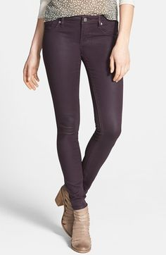 Vigoss 'Jagger' Coated Skinny Jeans (Eggplant) (Juniors) available at #Nordstrom