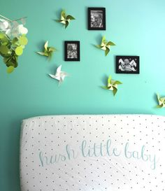 NEW fitted crib sheet in aqua hush little baby by iviebaby on Etsy, $55.00