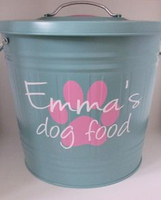 cute dog food storage container vis etsy a healthy dog is a happy dog. Black Bedroom Furniture Sets. Home Design Ideas