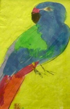 WALASSE TING / found on www.kunzt.gallery / Parrot, 1993 / Acrylic on paper / 47 x 32 cm