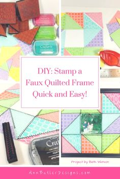 Create a Quick and Easy Faux Quilted Frame using Background Basics and Crafter's Ink