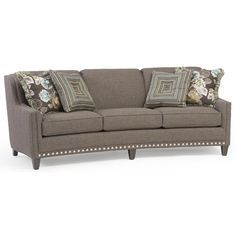 Smith Brothers 227 Slightly Curved Sofa with Sloping Track Arms and Nail Head Trim - Sheely's Furniture & Appliance - Sofa