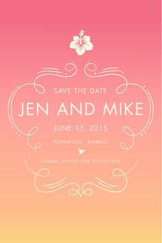 Tropical sunset inspired Hawaii Wedding - Custom Logo / Monogram / Save the Date | June Mango Design Boutique