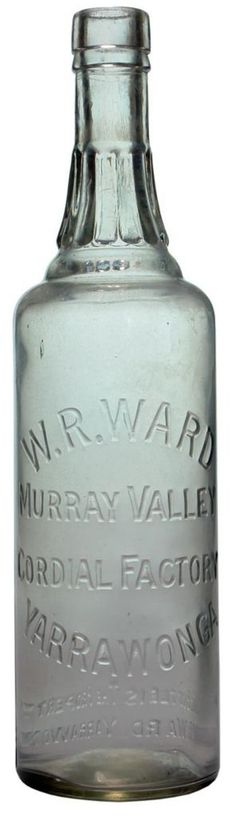 W. R. Ward, Murray Valley Cordial Factory, Yarrawonga. Fancy neck decoration. Vintage cordial bottle Circa late 1920s.