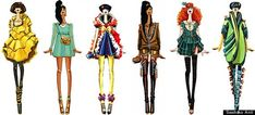 princess disney fashion: Belle, Jasmine, Snow White, Pocahontas, Meridia, Mulan (?)