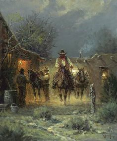 Harvey - Packin' Alone - This is one of more than works of art offered by ArtUSA, The World's Source for Collectible Art. Cowboy Horse, Cowboy Art, Nocturne, G Harvey, Westerns, Western Wild, Southwest Art, Le Far West, Art Graphique