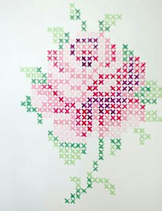 Cross stich rose mural from wunderschön-gemacht: vintage teatime. Do this with wall paint or with washi tape. Maybe not a rose (and I don't know what washi tape is, but This would be cool wall decoration. Rose Embroidery, Cross Stitch Embroidery, Embroidery Patterns, Cross Stitch Patterns, Cross Stitch Rose, Cross Stitch Flowers, Tape Wall Art, Cross Stitching, Beading Patterns