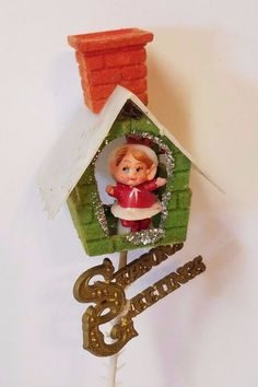 Vintage Christmas Ornament Decoration Felt Pixie Elf House Chimney Blow Mold 10""