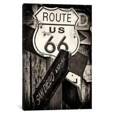iCanvas U.S. Route 66 Sign in B&W by Philippe Hugonnard Canvas Print