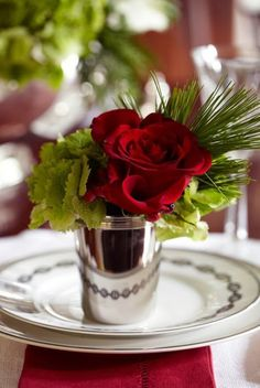 Red Roses   Silver Mint Julep Cup   Kentucky Derby   Table Place Setting   Tablescape