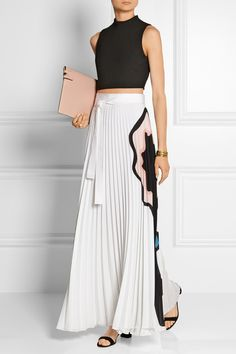 Issa | Felicity pleated printed georgette maxi skirt | NET-A-PORTER.COM