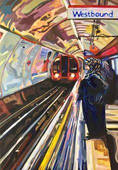 Original Popular culture Painting by Jenifer Dapper London Underground, City Painting, London Painting, Painting Art, Paintings, Painting Videos, Painting Techniques, A Level Art Sketchbook, Art Alevel