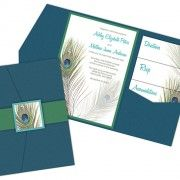 Peacock Feather Pocket Fold Wedding Invitations by Impress Ink
