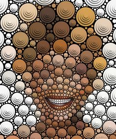 creative portraiture: ••Blind and Happy•• by ©Ben Heine 2012-02 • digital, yes, but drawn manually by placing circles one by one! • info@benheine.com
