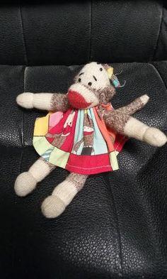 Mini Sock Monkey Doll Vintage by primitivewishfuls on Etsy