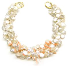 Helga Wagner Coin Fresh Water Pearls with pink branch coral.