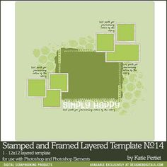 Stamped and Framed Layered Template No. 14- Katie Pertiet - PSE/PS Templates- LT807361- DesignerDigitals