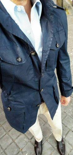 Gentleman Mode, Gentleman Style, Tactical Cargo Pants, Urban Fashion, Mens Fashion, Safari Jacket, Mode Style, Men's Style, Blue Shirt Dress
