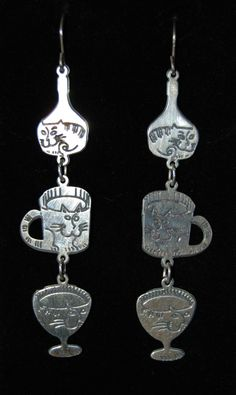 Dangling Multi Kitty Cat in a Wine Bottle Coffee Cup Martini Glass Vintage Earrings #BKC-KERNG95 by BadKittyCrafts on Etsy