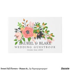 Sweet Fall Flowers - Wedding Guest Book -- White wedding guest book with a gorgeous hand-drawn flower arrangement in colors perfect for fall/autumn: pink, blush pink, orange, green, and charcoal. Personalize with your names and your wedding date.