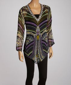Black Paisley Stripe Embellished V-Neck Tunic - Women