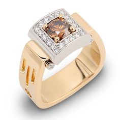 Diamonds for your man Riserva Collection - 1.11ct Fancy Orange Brown Round Brilliant Cut Diamond surrounded by White Diamonds set in 18K Yellow Gold and Platinum.