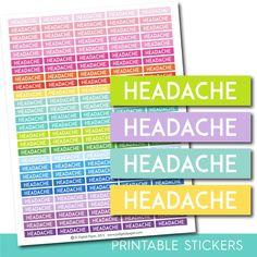 Headache stickers, Headache planner stickers, Headache weekly and monthly planner stickers, STI-724