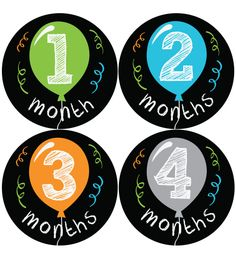 Balloon baby month stickers - Baby Belly Stickers