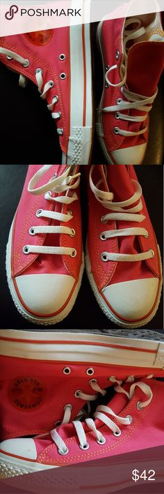 New Converse All Star Hot Pink and Orange High Top New Converse All Star Hot Pink and Orange High Top Sneakers  Sz. 7  Women Men 5 Converse Shoes Sneakers