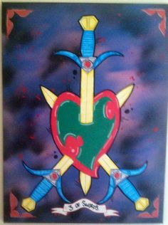 3 of Swords, oil on canvas