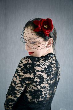 Black Birdcage Veil - Black  Fascinator - Fascinator Headband - Velvet Red Rose - Pin Up Flowers by JanaRoyaleDesign on Etsy https://www.etsy.com/no-en/listing/500134280/black-birdcage-veil-black-fascinator