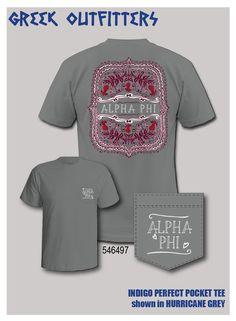 Greek Outfitters Alpha Phi filigree Indigo Perfect Pocket tee #grafcow