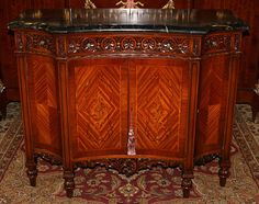 Gorgeous French Inlaid Satinwood Black Portoro Marble Sideboard Buffet Server | eBay