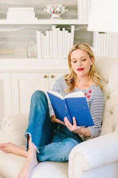 Reese Witherspoon wearing Draper James Stripe Heart Tee in Willow White